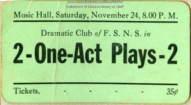 Theater ticket, Farmington State Normal School, 1928