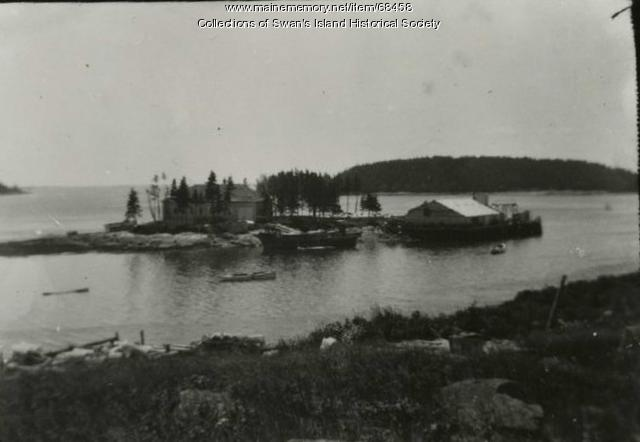 Medicinal fish oil factory on Johnson Island, Swan's Island, ca. 1910