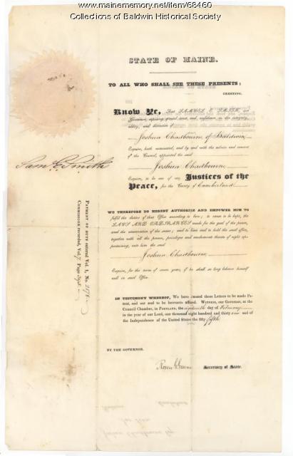 Justice of Peace certificate, Baldwin, 1831