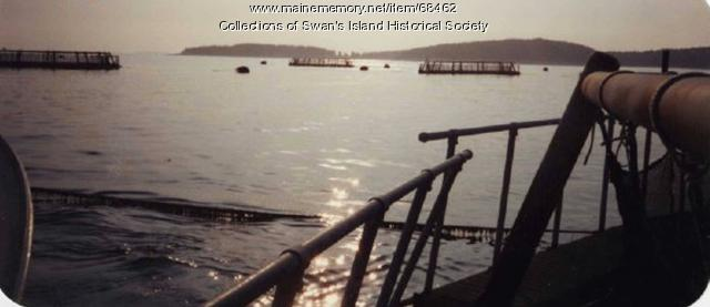 Salmon pens off Swan's Island, ca. 1990