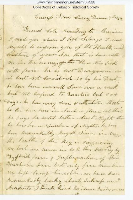 Letter about Pvt. Charles Cole ill health, Washington, D.C., 1862