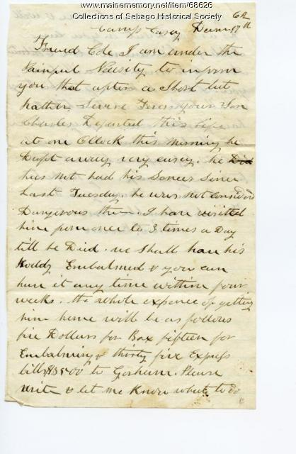 William Brown letter on Charles Cole death, near Washington, D.C., 1862