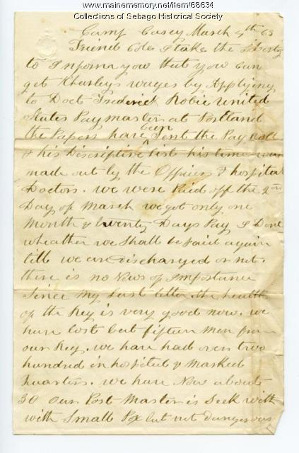 Letter on deceased soldier's pay, Georgetown, 1863