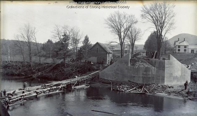 Walk bridge in place for workers after old bridge removed, Strong, ca. 1922