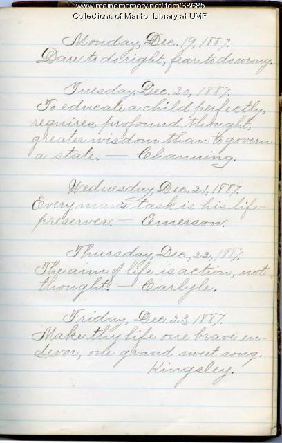 Motto book page, Farmington State Normal School, 1886