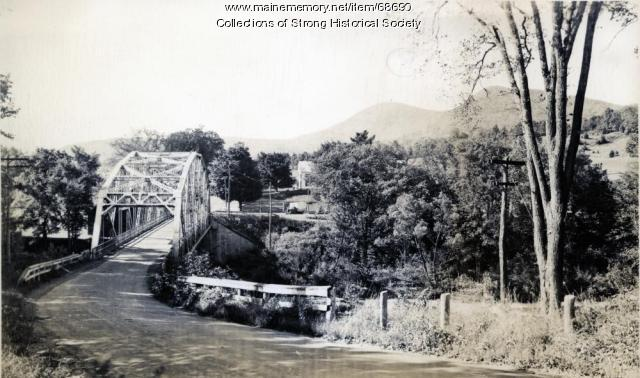 "A look down ""bridge hill"" toward the bridge, Strong, ca. 1950"