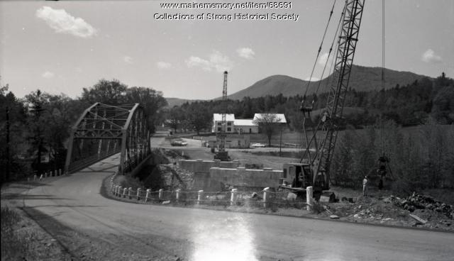 Construction alongside iron bridge, Strong, 1965