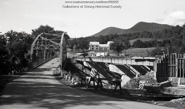 Bridge construction progresses, Strong, 1965