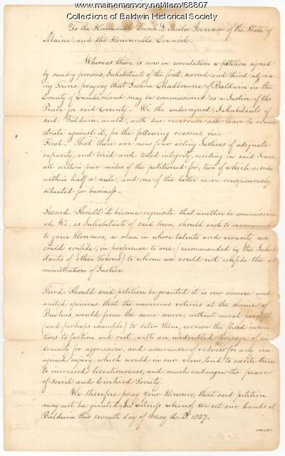 Petition to Governor Enoch Lincoln, Baldwin, 1827