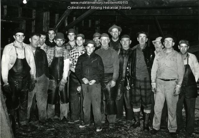Starbird Lumber Co. mill crew, Strong, ca. 1957