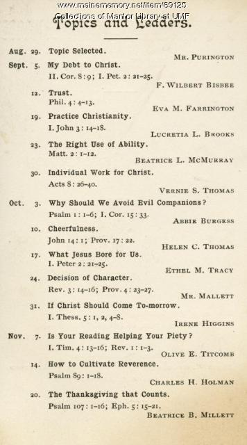 Christian Association Schedule, Farmington State Normal School, 1901