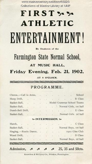 Athletic Entertainment Programme, Farmington State Normal School, February 21, 1902