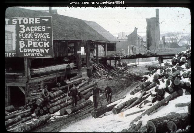 Lumber yard in Lewiston,  circa 1900