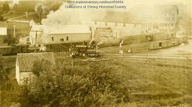 Working the junction at the Strong railroad station, Strong, ca. 1918