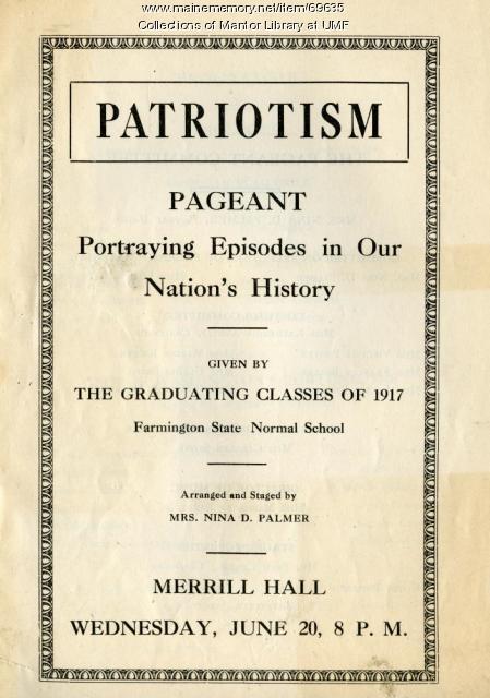 Patriotism Pageant program, Farmington State Normal School, June 20, 1917