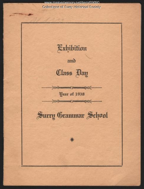 Exhibition and Class Day program cover, Surry Grammar School, 1938