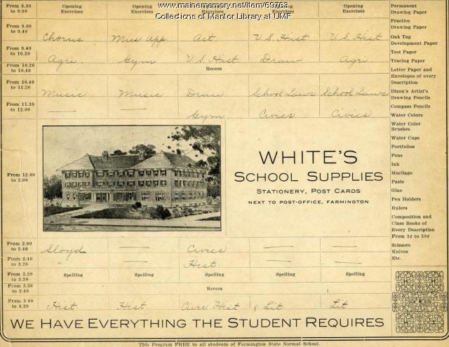 Class schedule, Farmington State Normal School, 1918