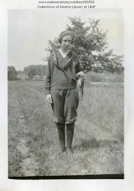 """Jerry"" fishing, Farmington State Normal School, ca. 1922"