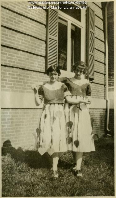 Students in Valentine costumes, Farmington State Normal School, ca. 1922