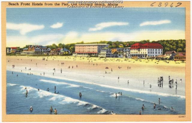 View of hotels from the pier, Old Orchard Beach, ca. 1938