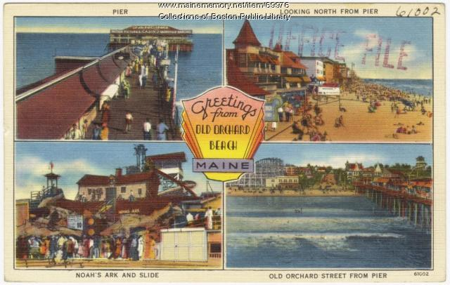 Tourist postcard of Old Orchard Beach, ca. 1938