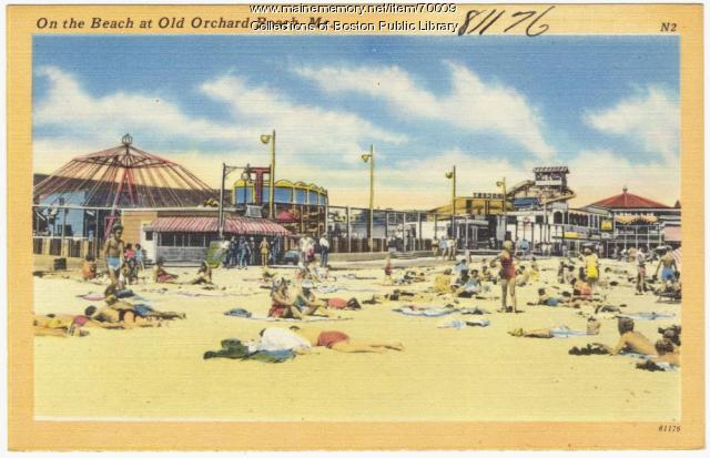 The beach, Old Orchard Beach, ca. 1938