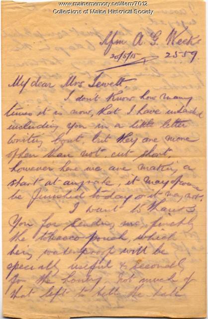 A.G. Weeks to Elizabeth Bascome Jewett, 1915