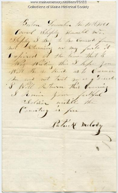 Soldier excuse for absence, Boston, 1861