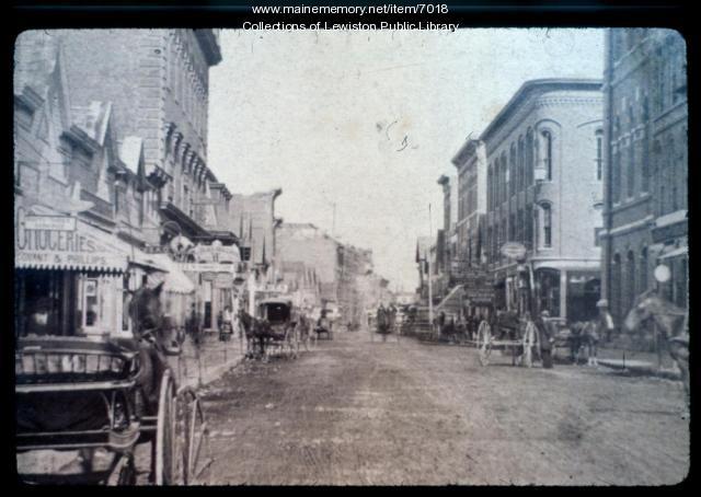 Lisbon Street before automobiles circa 1890
