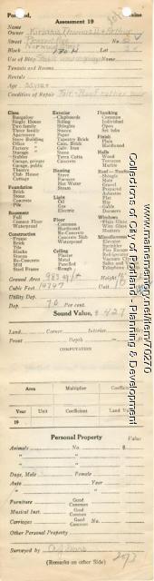 Assessor's Record, 52 Pleasant Avenue, Portland, 1924