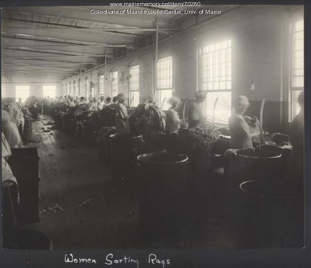 Women sorting rags, Brewer, ca. 1920
