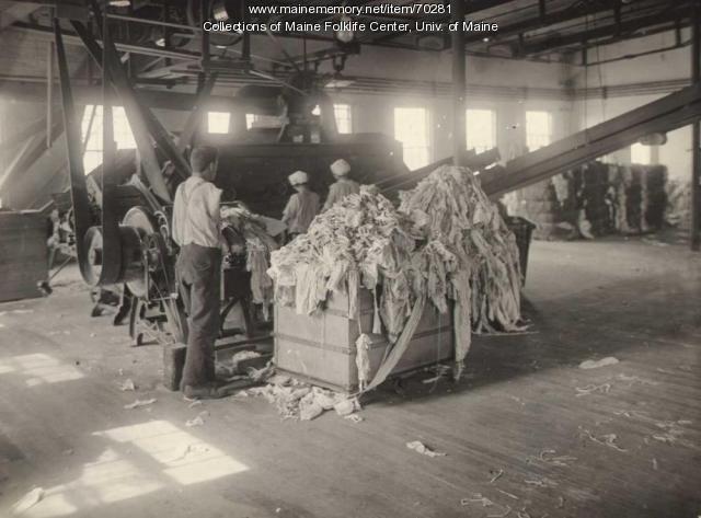 Women cutting rags, Eastern Fine Paper, Brewer, ca. 1920