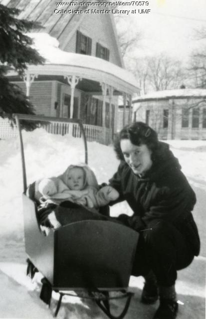 "Cottage baby Joy with ""Mimi"", Farmington State Teachers College, 1950"