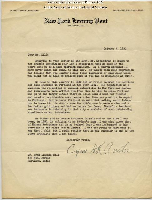 Letter regarding Hermann Kotzschmar's music
