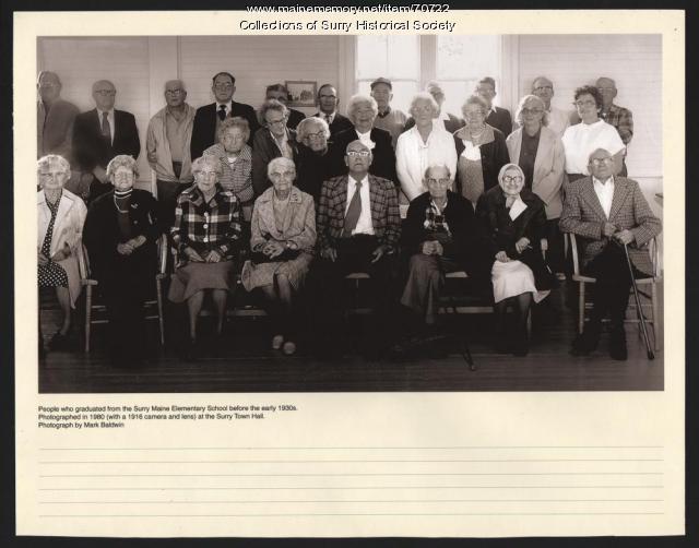 Surry Village School graduates reunion, Surry, 1980