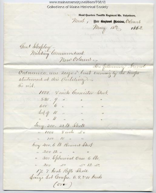 Report on seized ordnance, New Orleans, 1862
