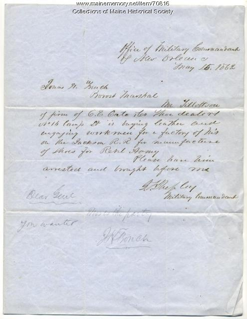 Order for arrest of Rebel shoemaker, New Orleans, 1862