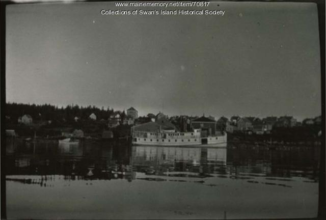 Waterfront with steamboat, Swan's Island, ca. 1920