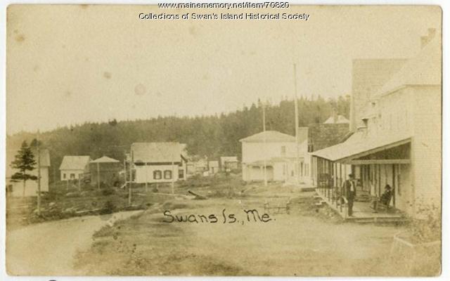 Ocean View Hotel porch, Swan's Island, ca. 1900