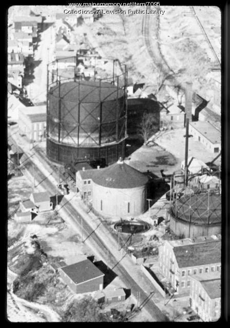Aerial view of the gas works area of Lewiston