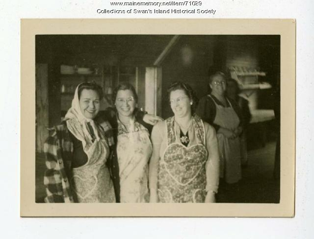 Odd Fellows Hall workers, Swan's Island, ca. 1945