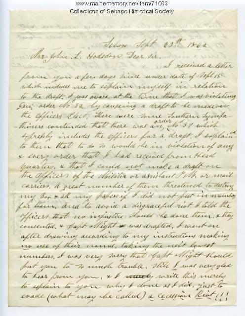 David Brown's letter from Sebago to John L Hodsdon, 1862