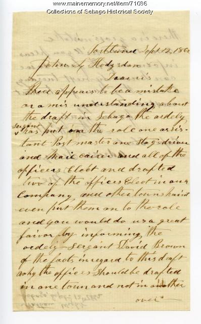 Letter from Nathan Wight, Sebago to John L Hodsdon, 1862