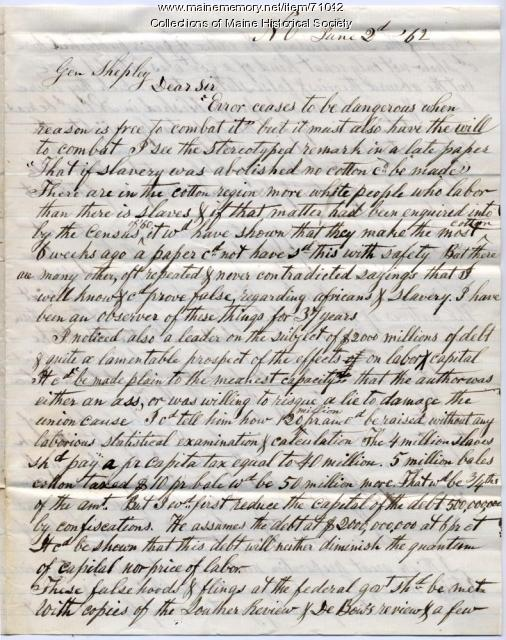 Letter to Col. Shepley on circumstances in New Orleans, 1862