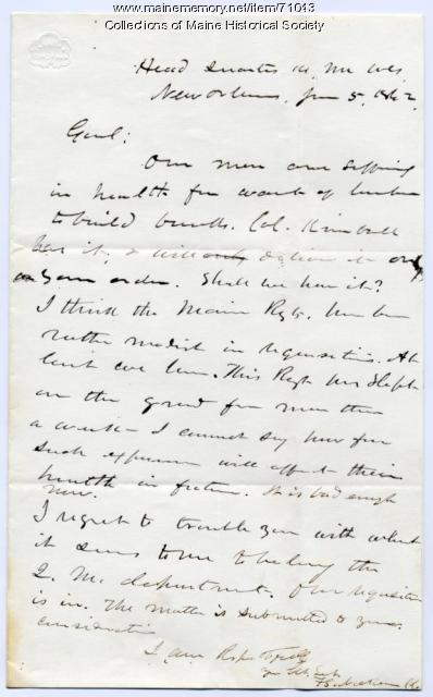 Col. Nickerson plea for wood for berths, New Orleans, 1862