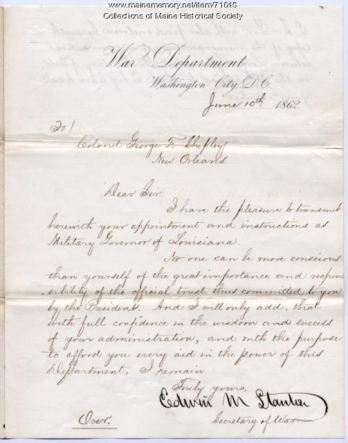 Edwin M. Stanton to Col. George F. Shepley, Washington, D.C., 1862