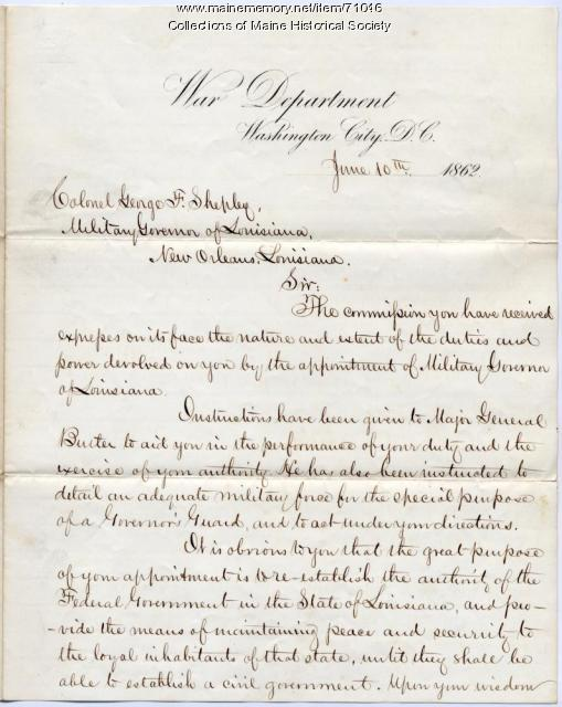 Edwin Stanton instructions to Col. George Shepley, 1862