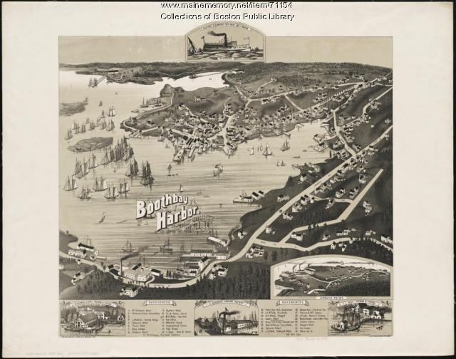 Bird's-eye view of Boothbay Harbor, 1885