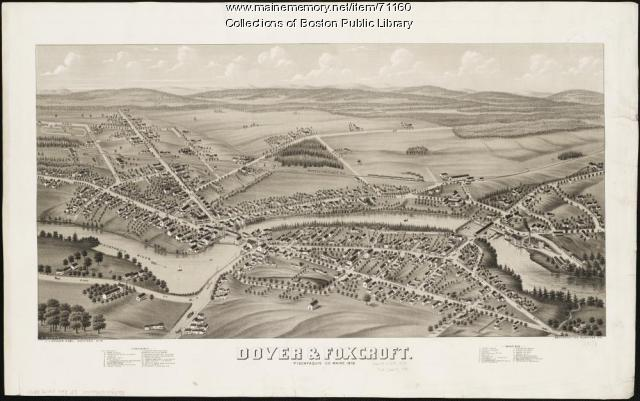 Bird's-eye view of Dover-Foxcroft, 1878