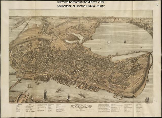 Bird's-eye view of Portland, 1876